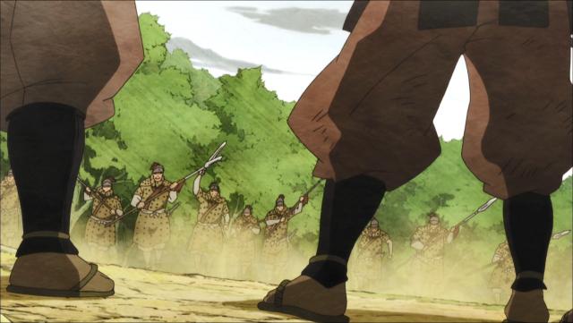 Os últimos soldados de Jinzaburou, sobrepujados em número desde o começo da batalha, se preparam para seu combate final