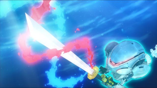 A espada poderia ser embutida no submarino, mas isso não teria graça, suponho