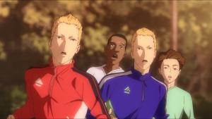 Os quatro mais empolgados: os gêmeos, Musa e Shindo