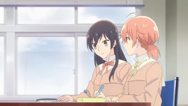 Yuu e Nanami estudando na escola