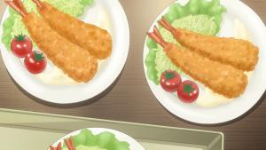 Até os camarões fritos e os tomates cereja estão em duplas e isso parece incomodar a Yuu