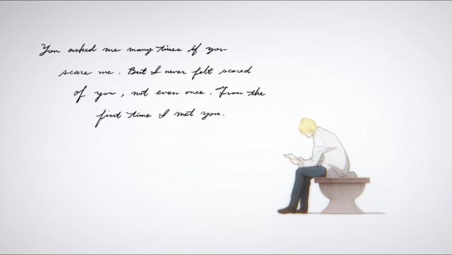 Ash lê a carta de Eiji