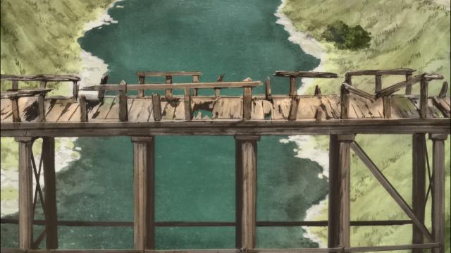 Essa ponte em ruínas logo na saída da vila não é exatamente o que se espera de um local próspero