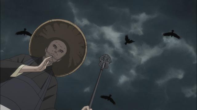 Um monge reza pelas almas dos mortos em um campo de batalha. Acima dele, os abutres