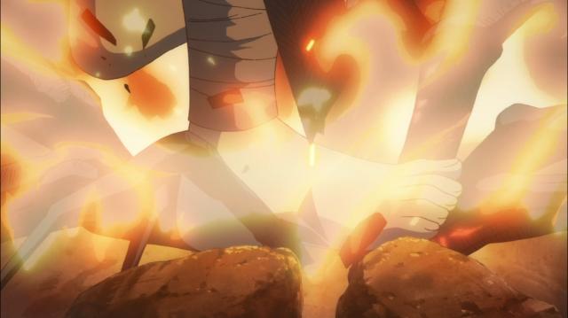 Hyakkimaru enfia o pé no fogo para sentir o calor e a dor