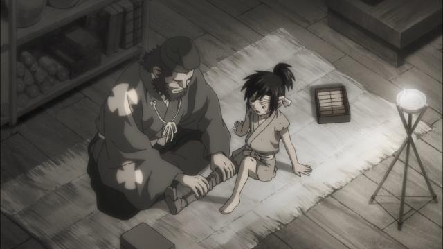 Jukai instalando a prótese de seu futuro discípulo