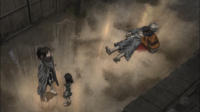 Hyakkimaru escuta a chuva e o choro de Osushi