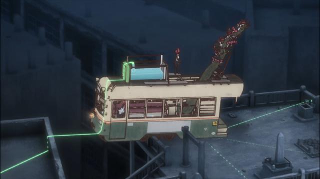 Um, ahn, bonde em cima de um prédio, acho