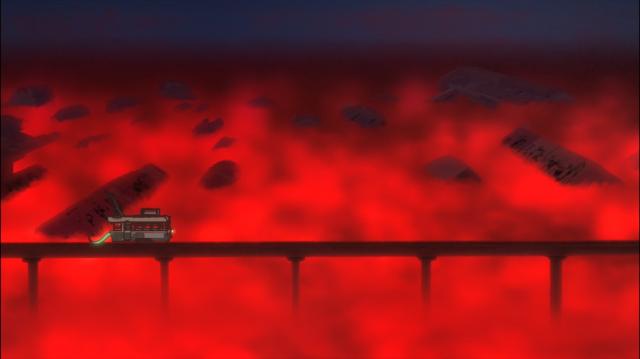 Uma névoa vermelha domina a paisagem em vastas porções de terreno em Kemurikusa