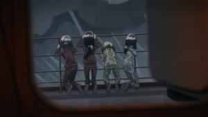 As quatro saem para o convés do navio durante uma tempestade só porque deu vontade (nunca faça isso!)