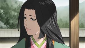 Nuinokata, a mãe de Hyakkimaru e Tahoumaru, conversa com Daigo Kagemitsu e parece saber mais do que já a vimos dizer