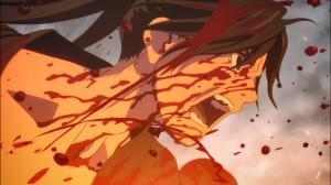Hyakkimaru em fúria pela morte de Mio e das crianças
