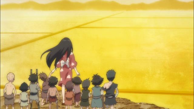 Mio e as crianças observando os campos dourados que elas mereciam ter