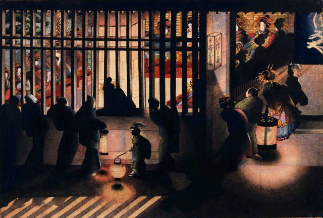 Cena noturna em Yoshiwara (Yoshiwara Koushisakinozu - 吉原格子先之圖) (1850)