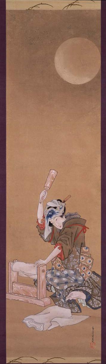 Kinuta, ou Bela mulher batendo pano à luz da lua (1850)