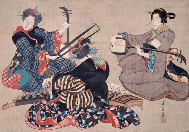 Três mulheres tocando instrumentos musicais (Sankyoku gassô zu - 三曲合奏図) (1850)