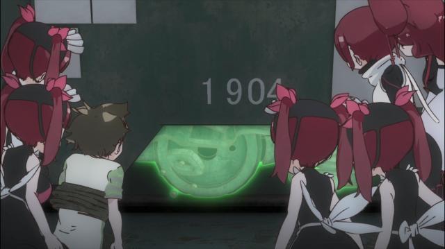 Wakaba usa as folhas verdes de Midori para consertar a roda do bonde que elas usam como veículo