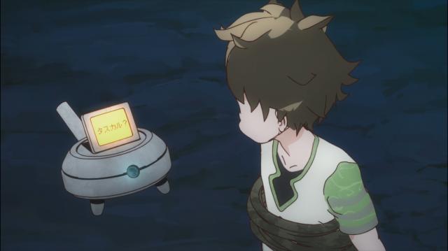 O robozinho branco alcança os heróis e parece conversar com Wakaba e receber ordens dele