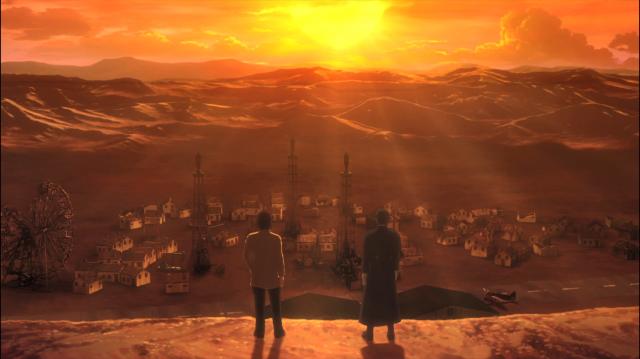 O pôr do sol visto acima de uma pequena vila desse mundo