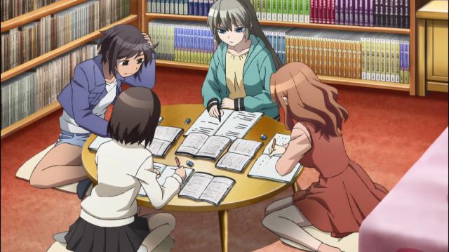 Asuka, Kurumi, Sayako e Nozomi estudando