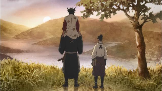 Hyogo carrega Tahoumaru nos ombros - ainda é quase uma criança