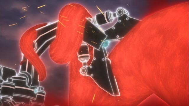 O robô branco gigante, fusão do enxame de robôs pequenos, luta até a morte contra a raiz vermelha