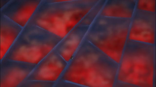 A superestrutura azul, e abaixo dela névoa vermelha