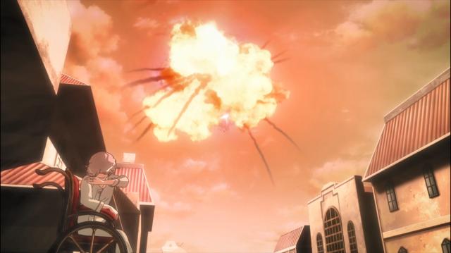 Um bombardeiro avariado entra no portal e explode
