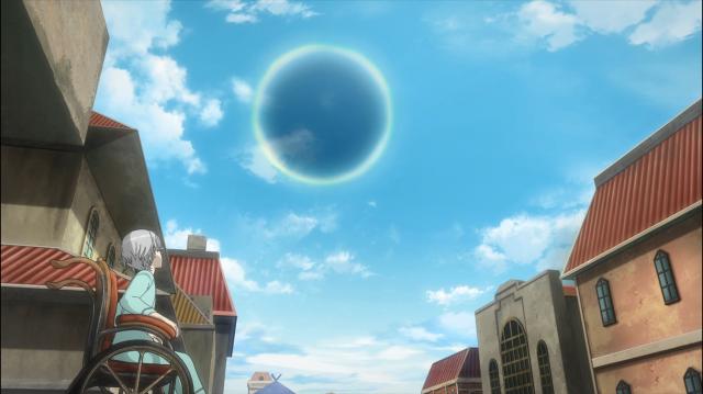 O portal, bem visível no céu de Rachma