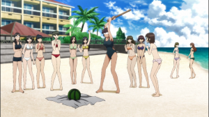 Asuka decidiu proteger a paz de garotas na praia