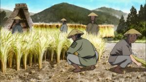 Os aldeões olham feio para Dororo