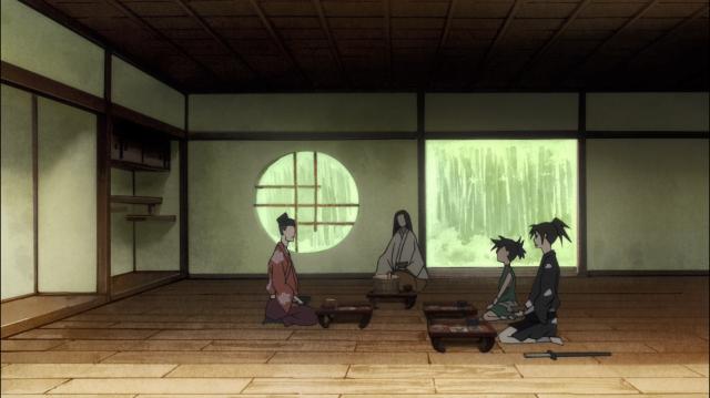 A conversa entre Sabame, Dororo e Hyakkimaru pela manhã