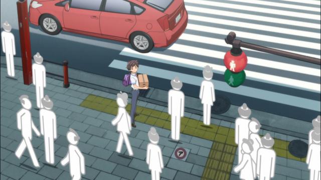 Kazuki anda pelas ruas com sua caixa