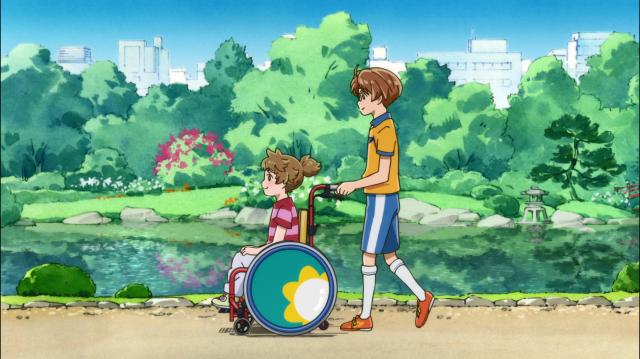 Enta empurra a cadeira de rodas de Haruka