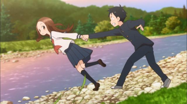 Nishikata salva Takagi de cair no rio segurando-a pela mão