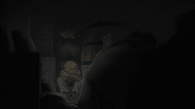 Thorfinn se esconde no barco e chora pela morte do pai