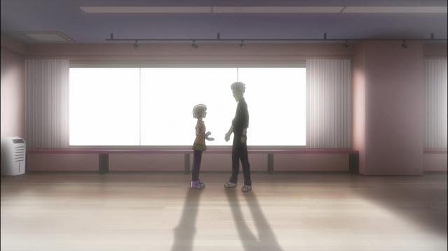Sugawara e Saegusa, quando a garota ainda era uma menina na trupe de teatro