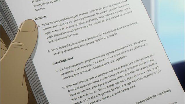 Uma página do contrato oferecido a Carole & Tuesday