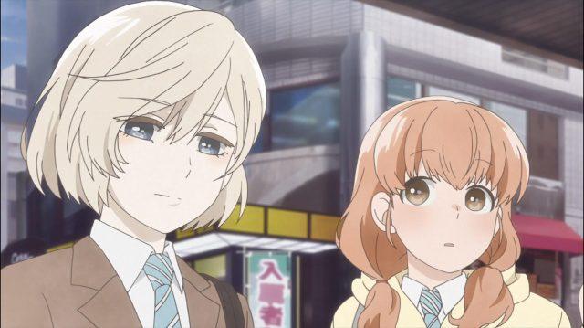 Sugawara após se despedir de Onodera, que estava indo encontrar-se com Izumi, e Momoko a observando