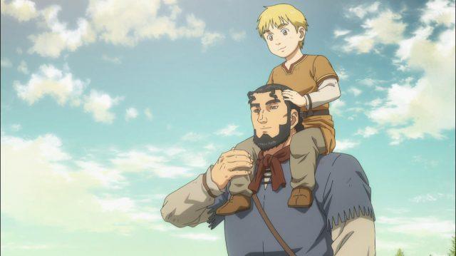 Thorfinn sonha com seu pai em paz, na Vinlândia