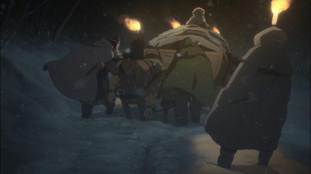 Askeladd e seus homens são pegos por uma nevasca