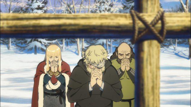 O padre reza pelos aldeões enterrados em uma vala comum, acompanhado de Ragnar e do Príncipe Canuto