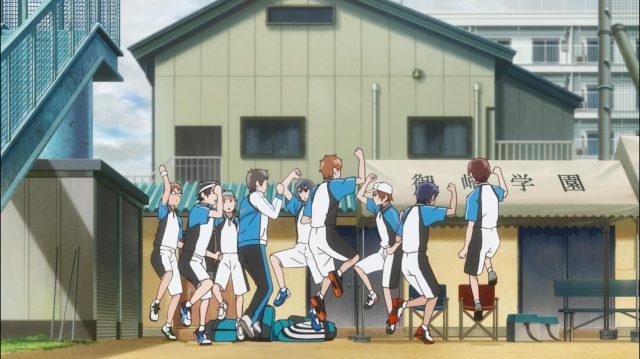 A equipe inteira fazendo a dancinha que o Shingo criou com sua irmãzinha