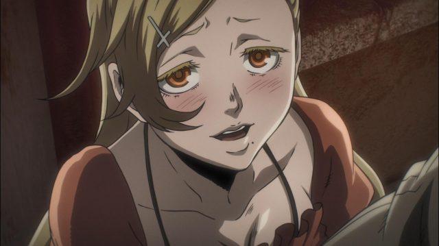 Scarlet, corando enquanto agradece ao Juuzou por tê-la salvo de policiais safados