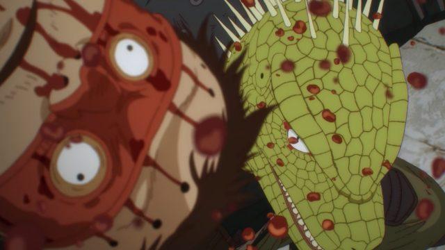 Kaiman, o homem-lagarto imune à magias, mata um feiticeiro