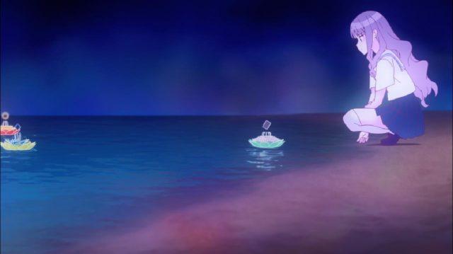 Miyako se via à beira-mar, e era convidada a lançar seus sentimentos negativos no oceano pelo feitiço da refletora de anel vermelho