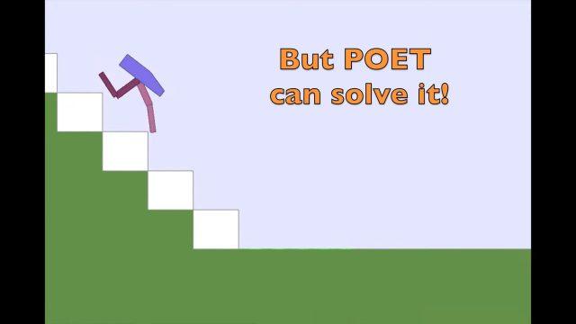 Screenshot do vídeo de demonstração de POET, uma IA que aprende a avançar em terrenos virtuais com obstáculos