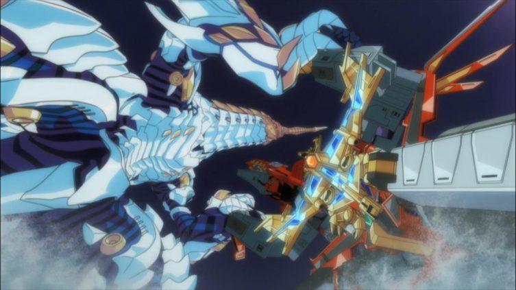 Kaiju Shimizu versus Super Dragão Rei Kaiser Gridknight