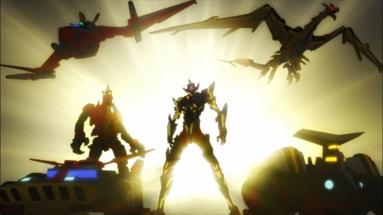 Primeira transformação com a equipe completa no anime final